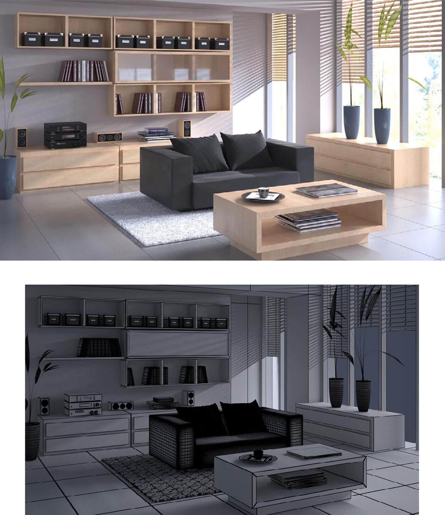 Không gian phòng khách với các hộc tủ gỗ vuông treo tường đồng bộ với bàn