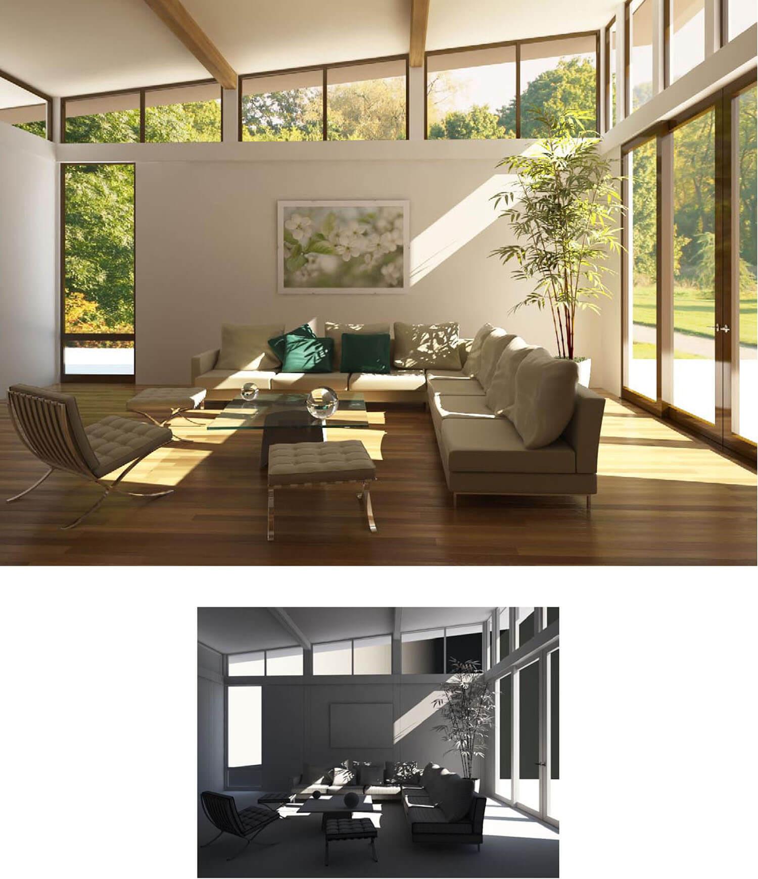 mẫu thiết kế phòng khách sử dụng các vách và ô cửa kính tạo tầm nhìn tươi mát