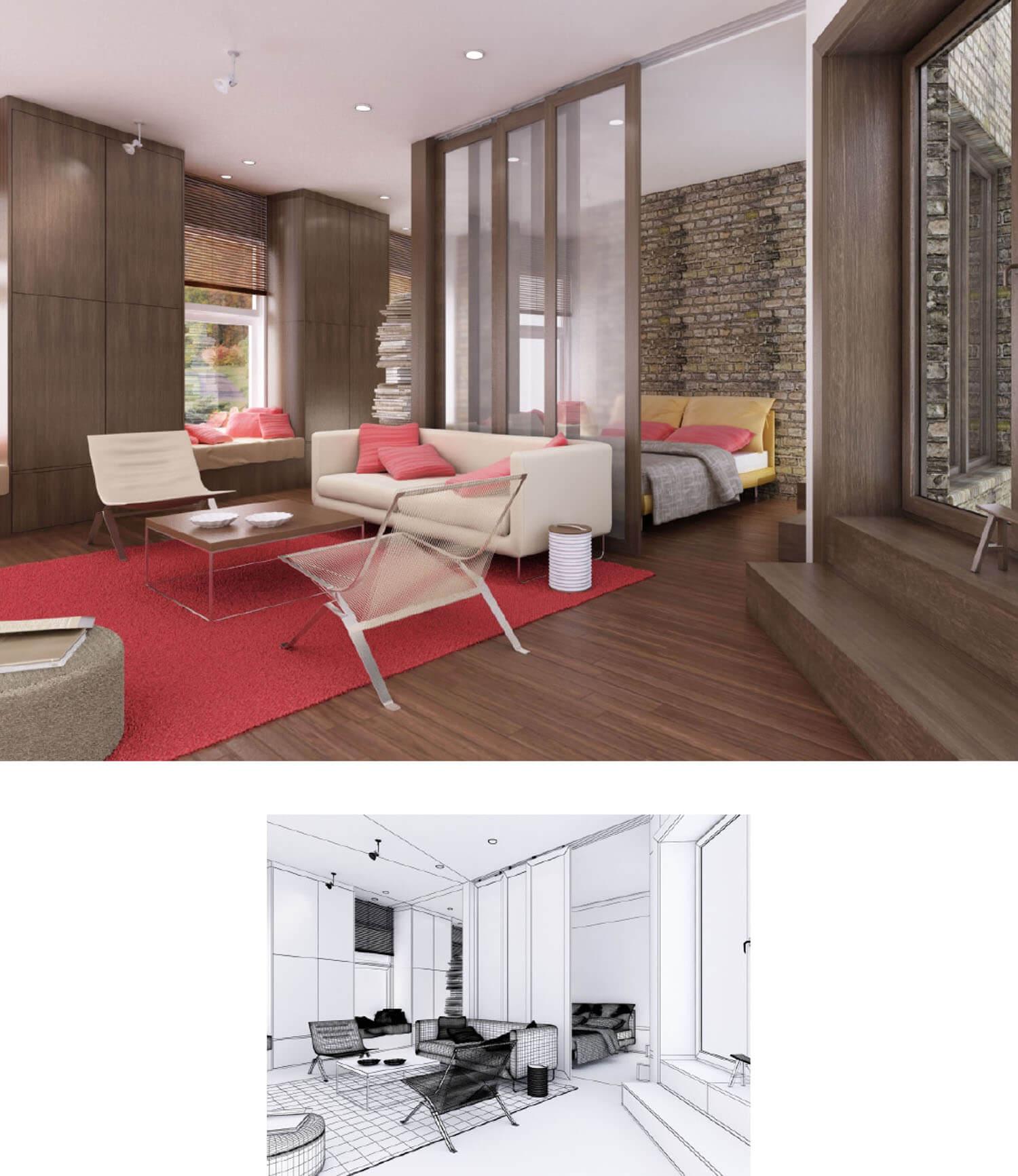 thiết kế tường gỗ phòng khách và vách kính ngăn với phòng ngủ
