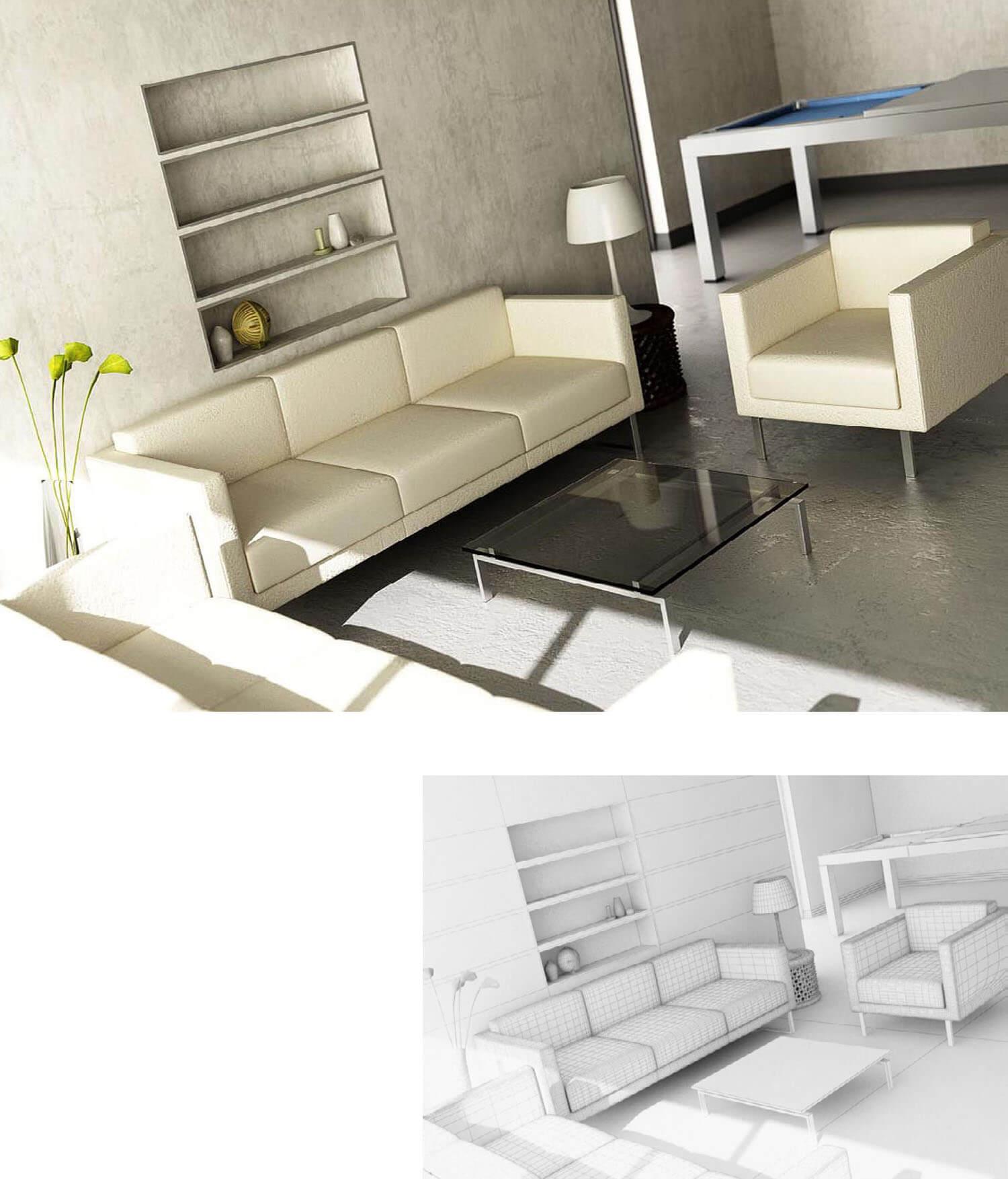 Nội thất phòng khách ghế salon trắng kết hợp đồng màu với sơn tường