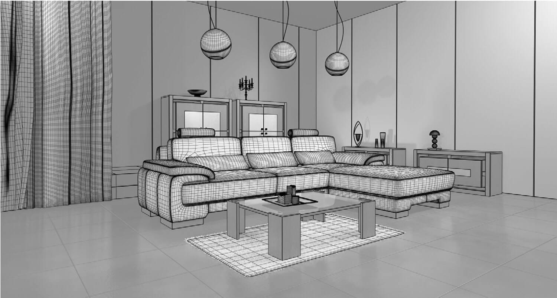 bản vẽ 3d Sự tương phản đẹp mắt được diễn ra giữa đèn, ghế salon và thảm