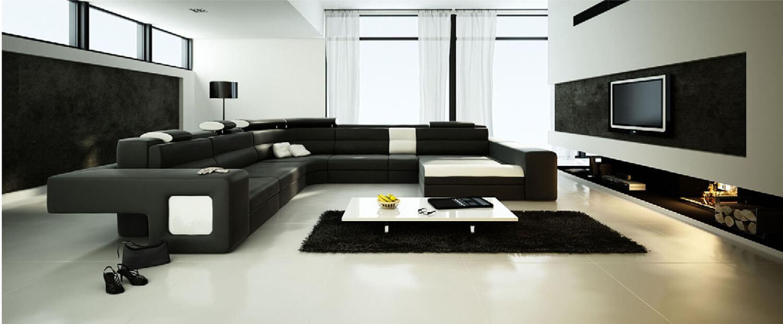 Không gian ấn tượng của phòng khách với hai màu đen trắng