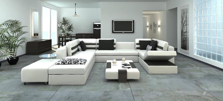 Mẫu thiết kế phòng khách trên diện tích rộng với bộ salon trắng trải dài