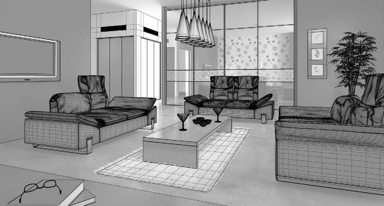 bản vẽ 3d Sự ấm áp được lan tỏa trong mẫu thiết kế phòng khách