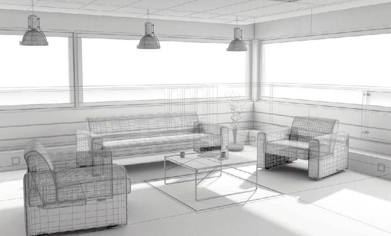 bản vẽ 3d Thiết kế phòng khách đẹp sử dụng các vách kính