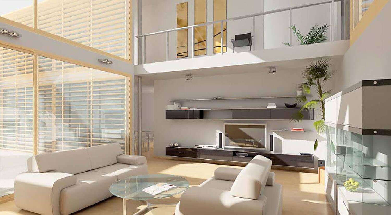 Nội thất phòng cách kết hợp khéo léo giữa kính lớn và rèm