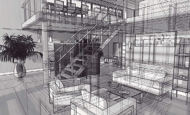 bản vẽ phối cảnh 3d Khu tiếp khách được mở rộng nối tiếp với cầu thang gỗ