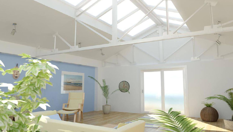 3D Sử dụng sàn gỗ và sơn tường phòng khách màu xanh lơ rất tươi mát