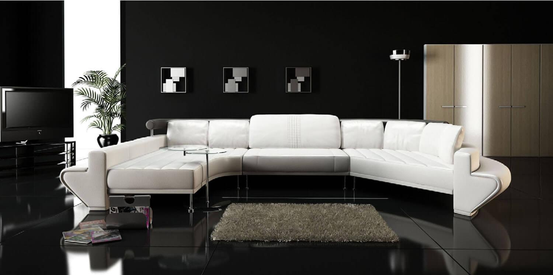 Bàn ghế nội thất phòng khách trở nên thật nổi bật với màu trắng trên nền đen