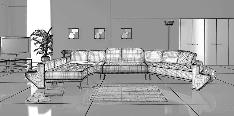 Bản vẽ 3D phối cảnh phòng khách với bộ sofa dài