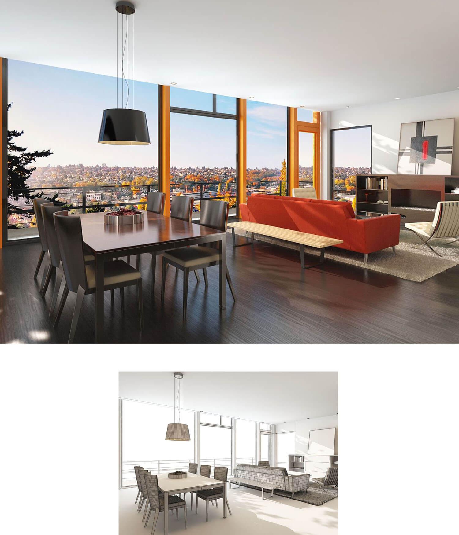 Thiết kế phòng khách trên nhà cao tầng với vách kính lớn