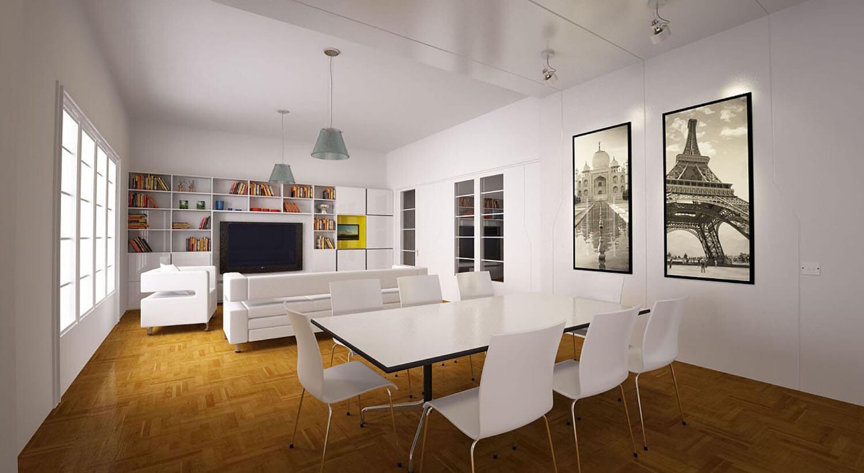 Không gian tiếp khách bừng sáng với sự pha lẫn hài hòa của ghế salon bàn ăn và sơn trắng