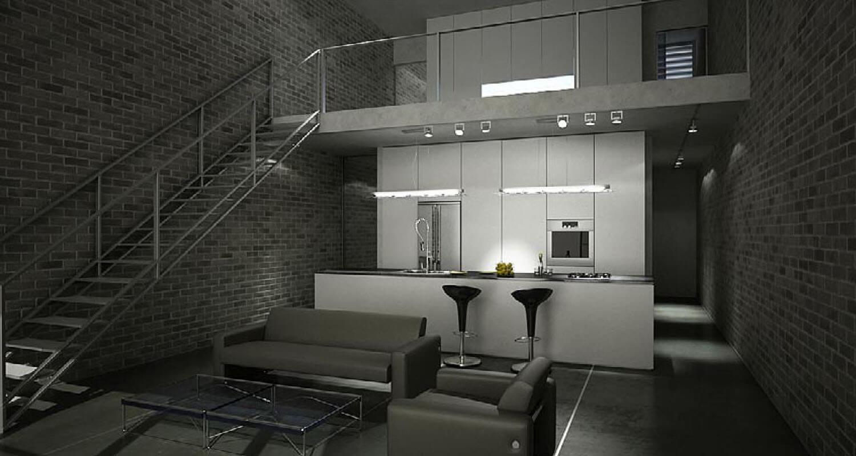 Không gian nội thất phòng bếp và phòng khách được thiết kế với tường gạch