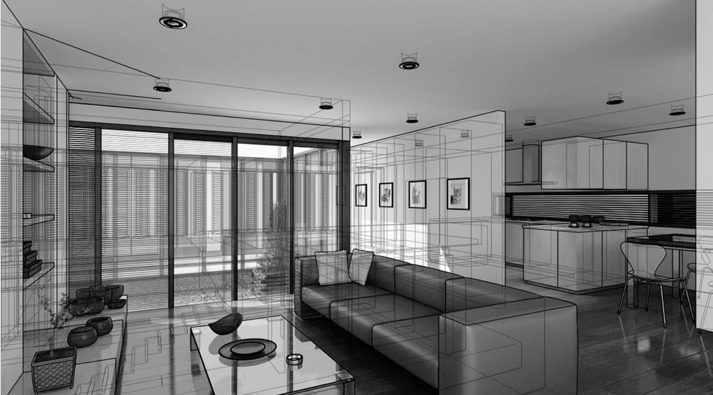 Hình vẽ 3D Không gian nội thất phòng khách