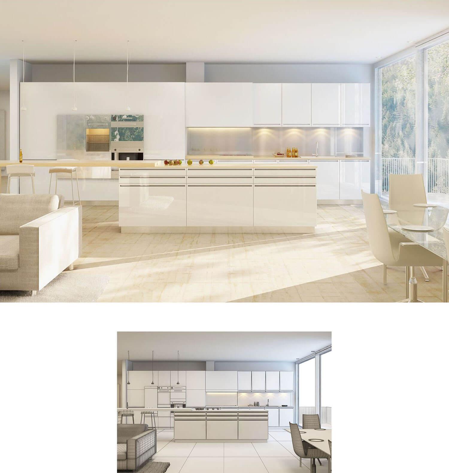 Nội thất phòng bếp đẹp và sang trọng với bộ tủ và kệ bếp cùng nên tường trắng sáng