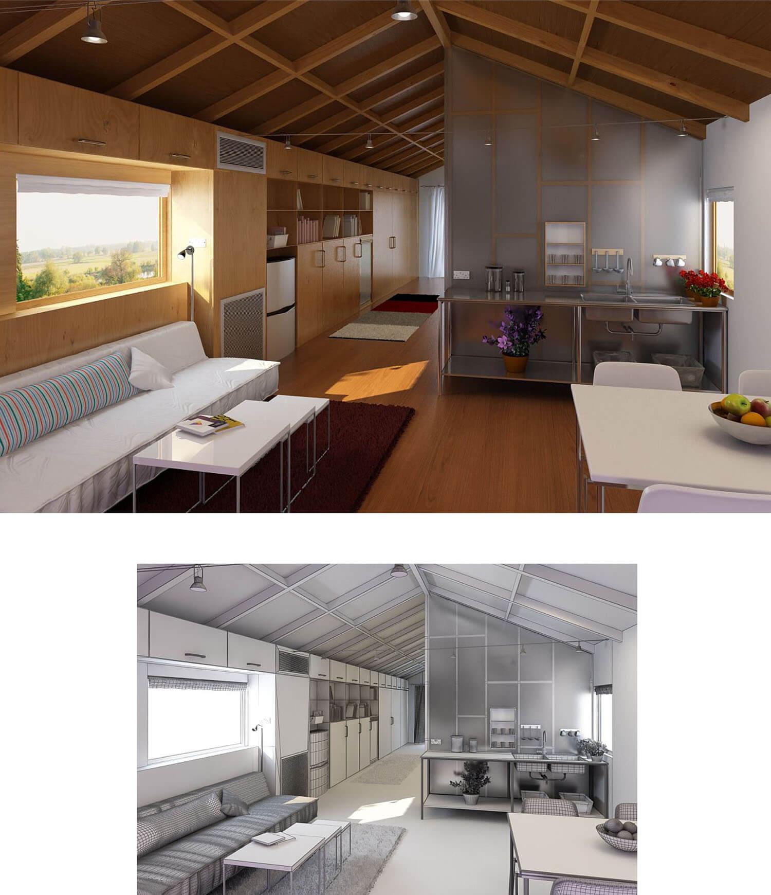 Thiết kế nội thất phòng khách sử dụng trần tường và sàn gỗ