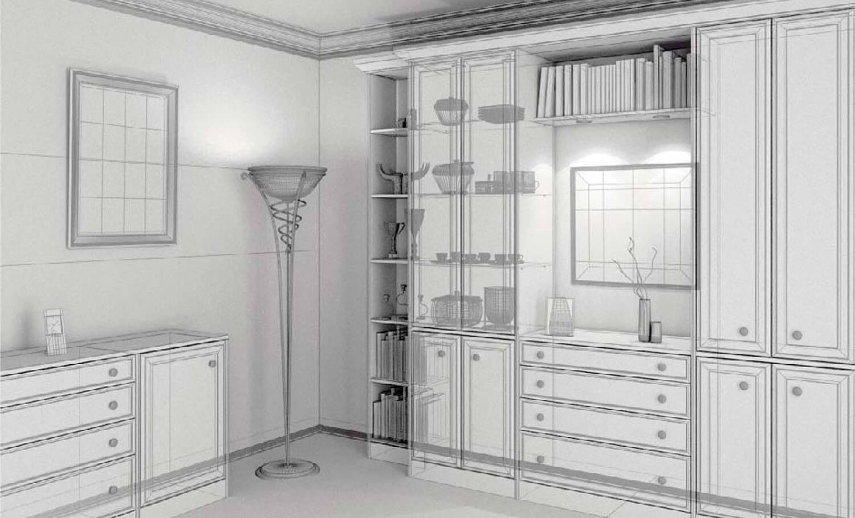 bản vẽ 3d Phòng khách cổ điển với bộ tủ gỗ kết hợp hài hòa