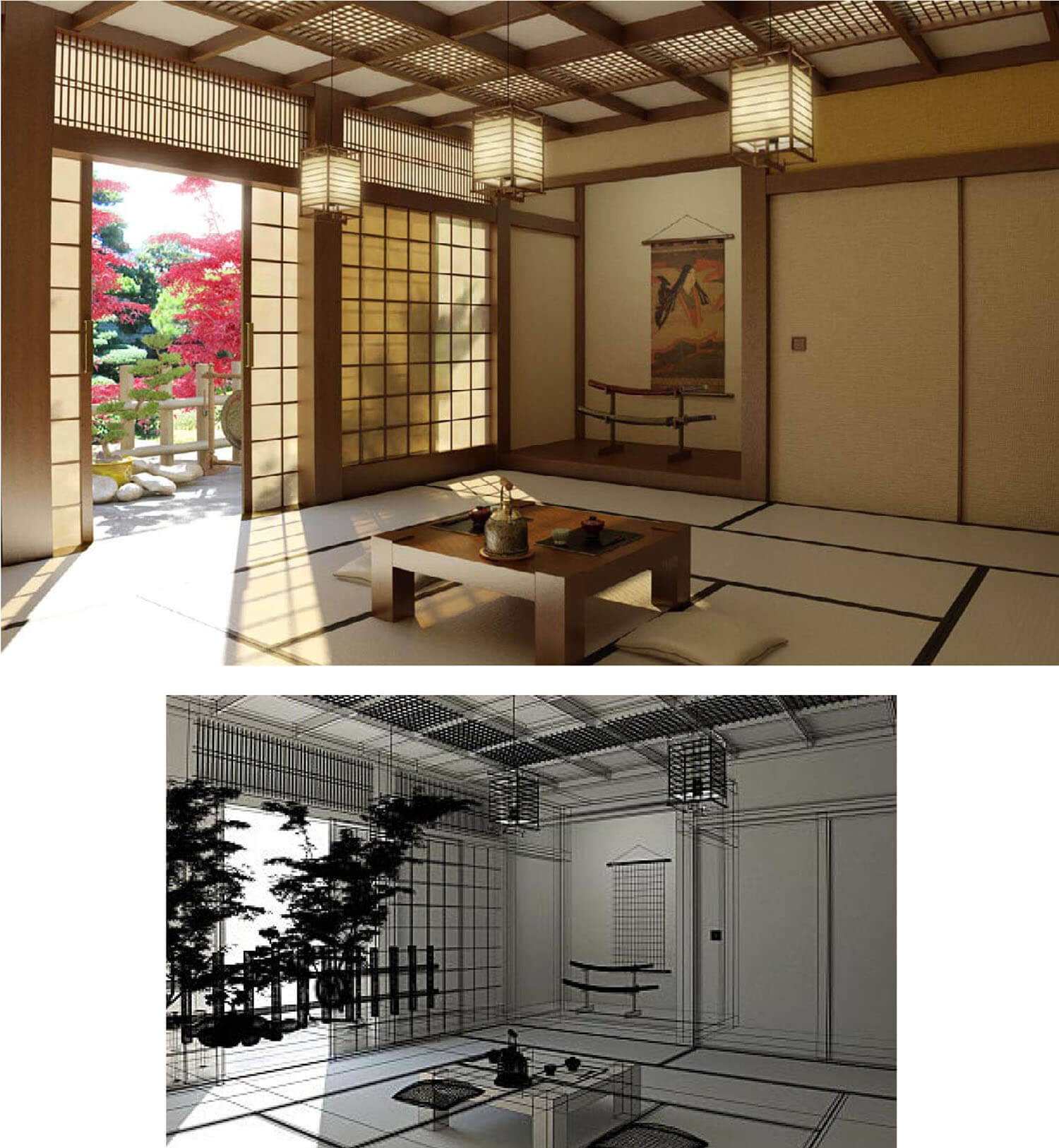 Mẫu thiết kế phòng khách đẹp kiểu Nhật bản đặc trưng với đèn lồng cửa kéo