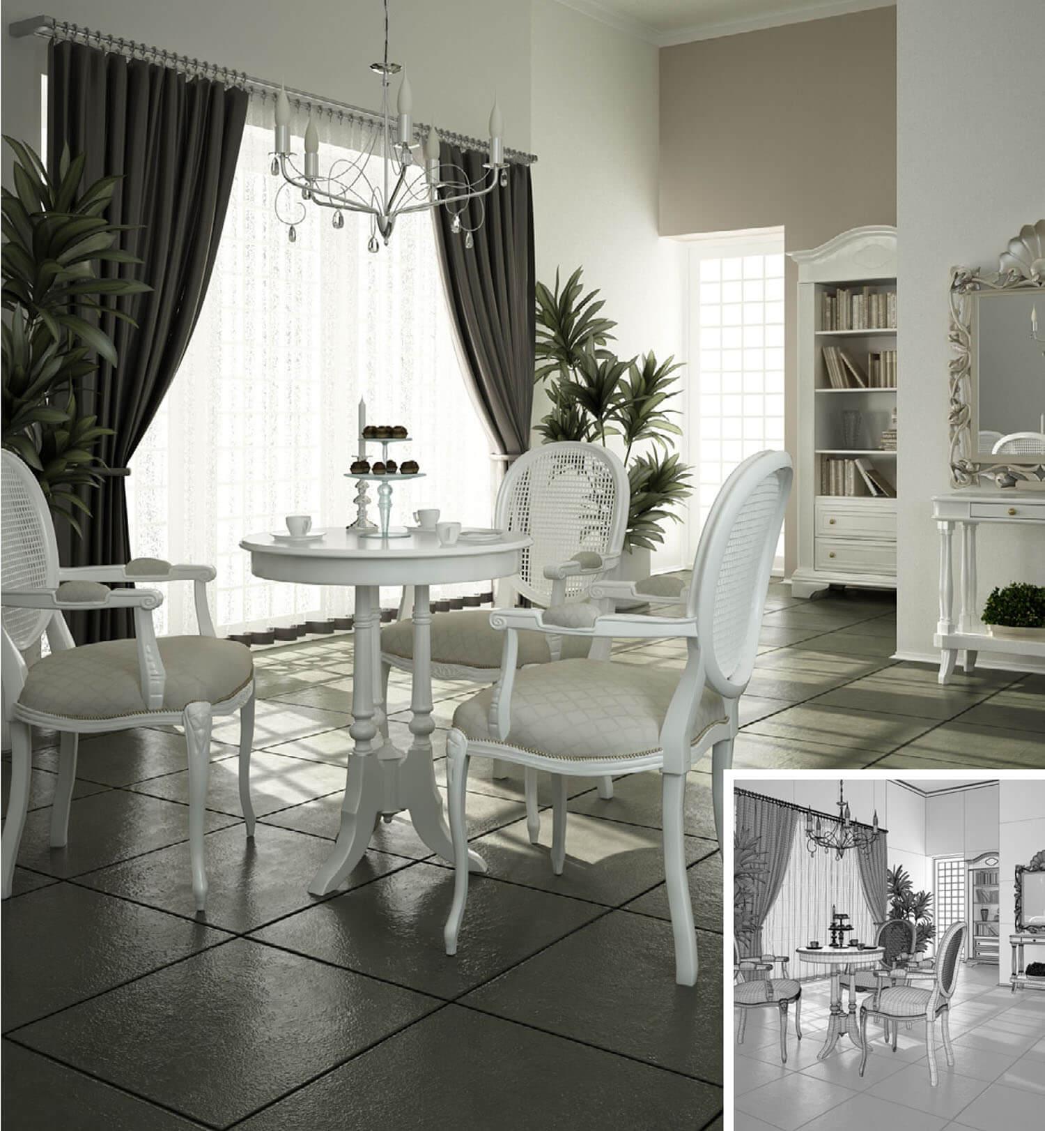 Phòng khách kiểu cổ điện trang trí với màu trắng chủ đạo
