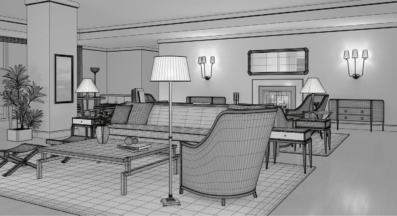 3d thiết kế Không gian nội thất phòng khách thật êm dịu với màu vàng nhẹ