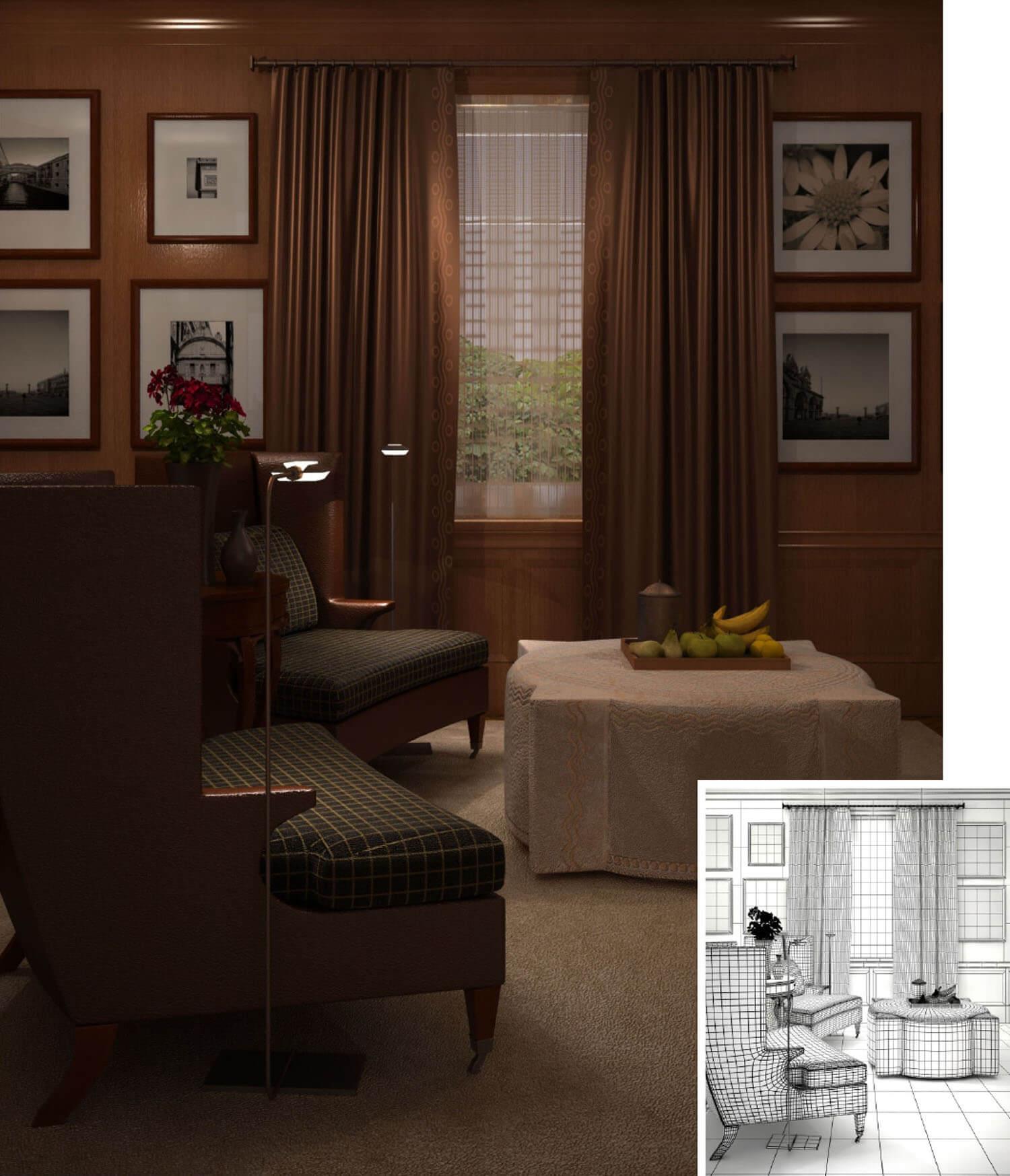 Nội thất phòng khách được trang trí với rèm nâu và tường gỗ ấm cúng