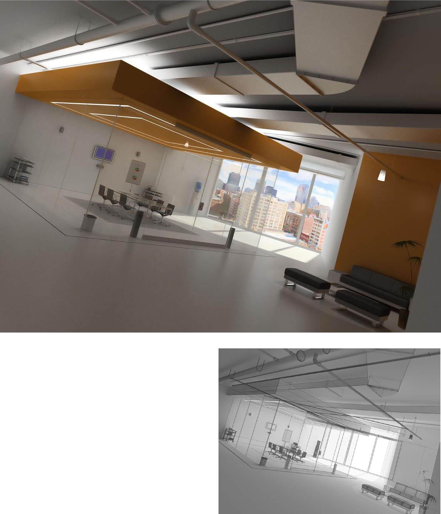Nội thất phòng khách thiết kế đường nét vuông vức với kính và trần thạch cao