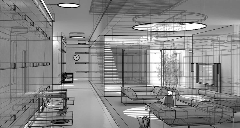 Bản vẽ phối cảnh 3D Mẫu nội thất phòng khách với ánh sáng