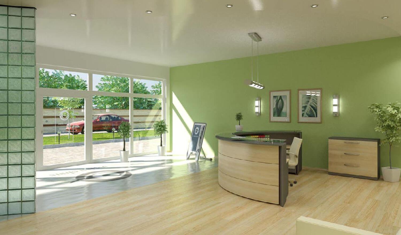 3D Khu vực tiếp khách văn phòng có diện tích rộng