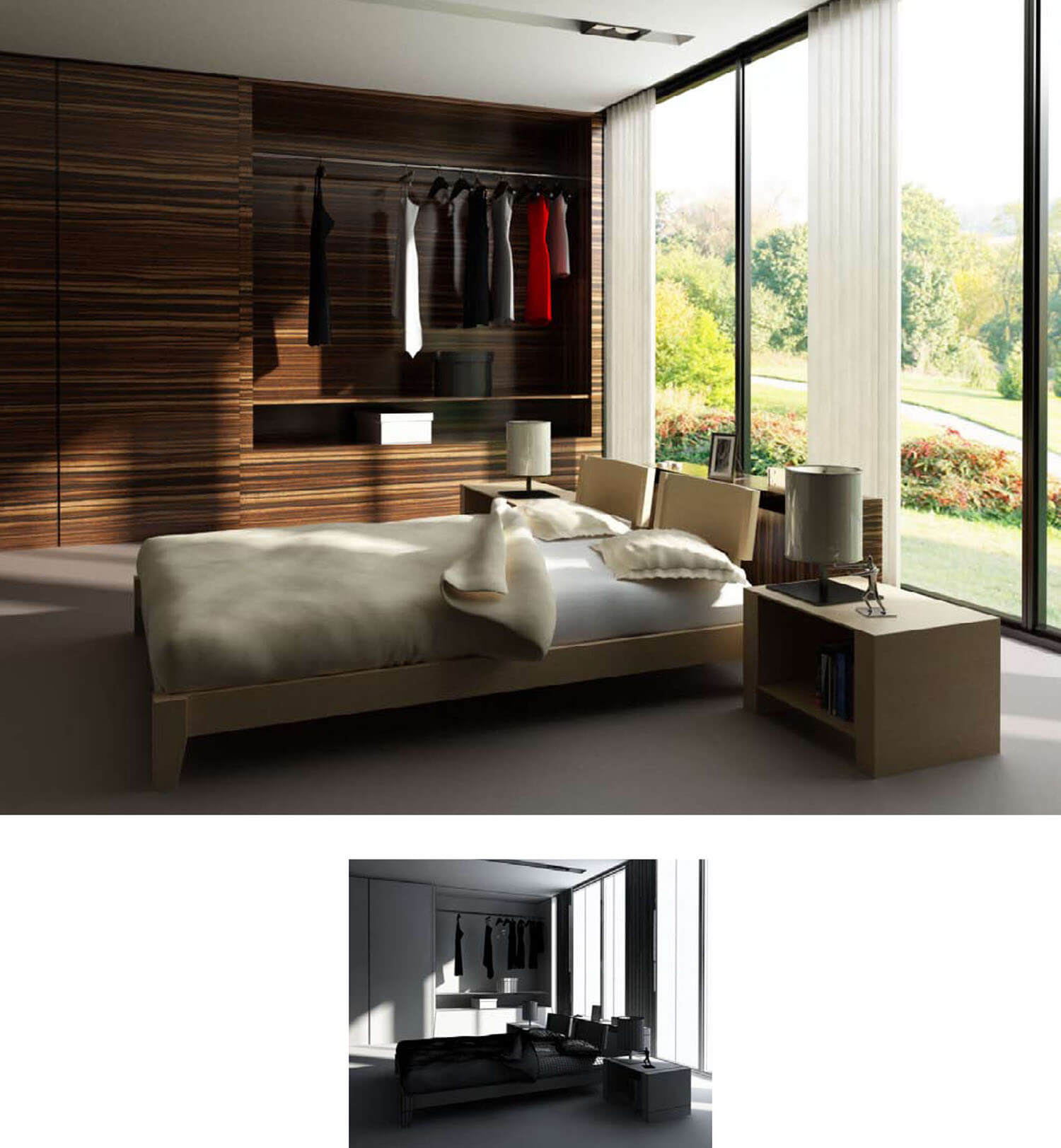 Thiết kế phòng ngủ với cửa kính lớn đón ánh sáng tràn ngập căn phòng