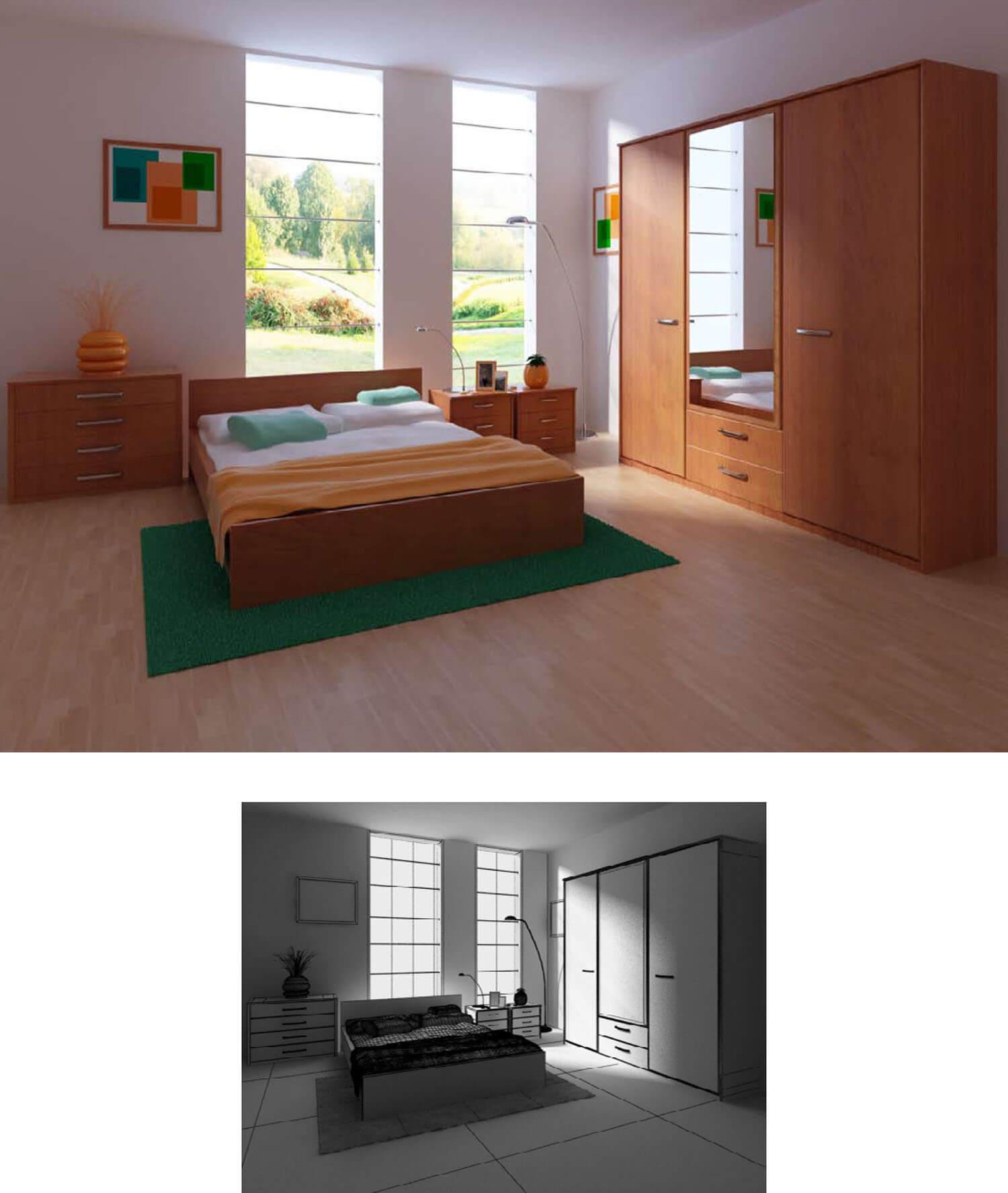 Nội thất gỗ được sử dụng tối đa trong phòng ngủ đem lại vẻ ấm áp