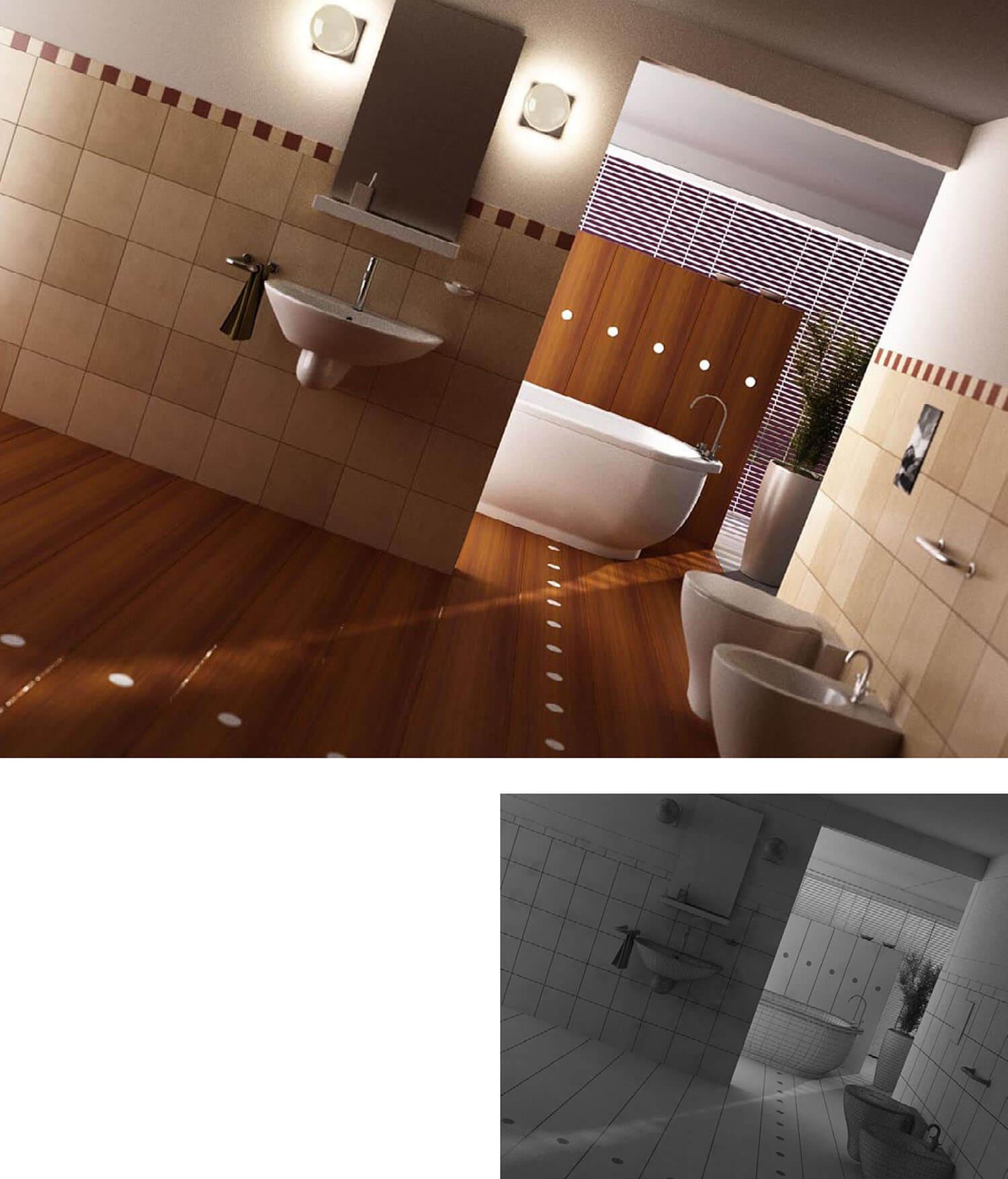 Phòng tắm được ốp sàn và vách ngăn gỗ kín đáo