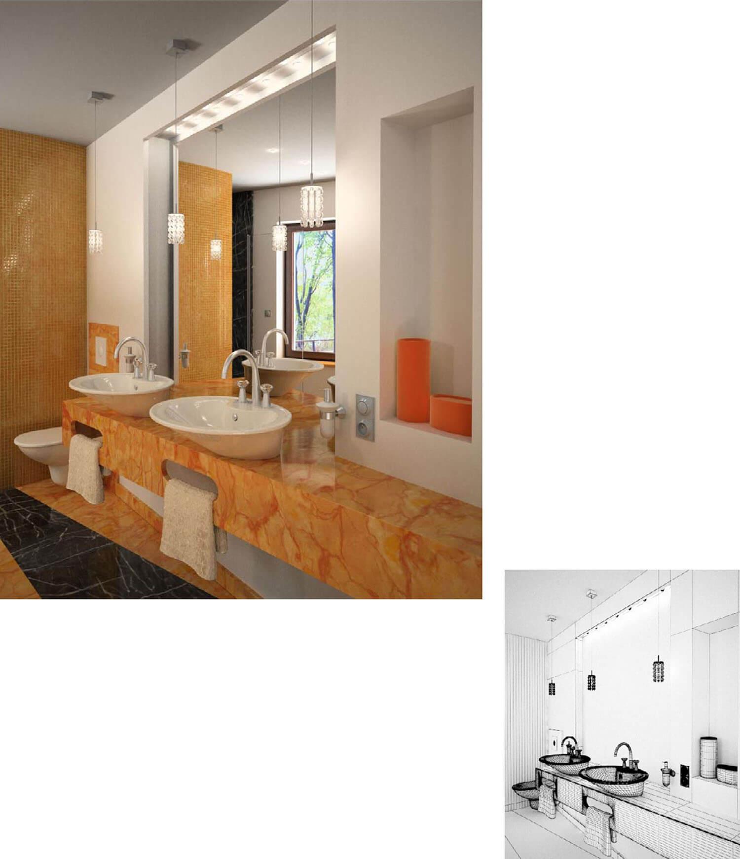 Mẫu phòng tắm trang trí với gạch men màu cam