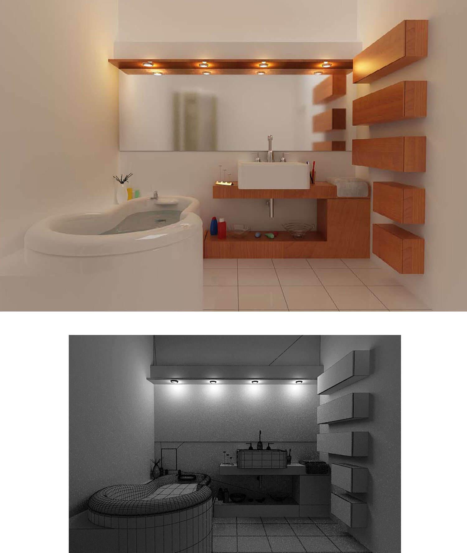 Trang trí phòng tắm bằng những khối đá hình hộp ốp tường nghệ thuật