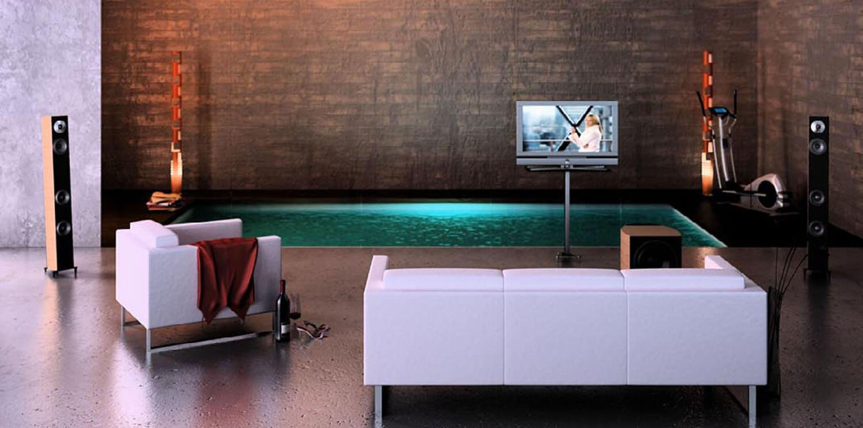 Phòng tắm với thiết kế bể bơi nhỏ cùng hệ thống màn hình, âm thanh giải trí