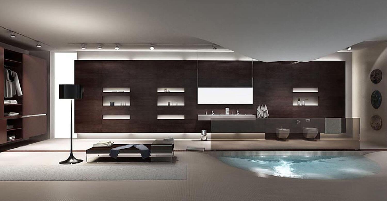 Phòng tắm được làm độc đáo với bể bơi là phần lõm của sàn