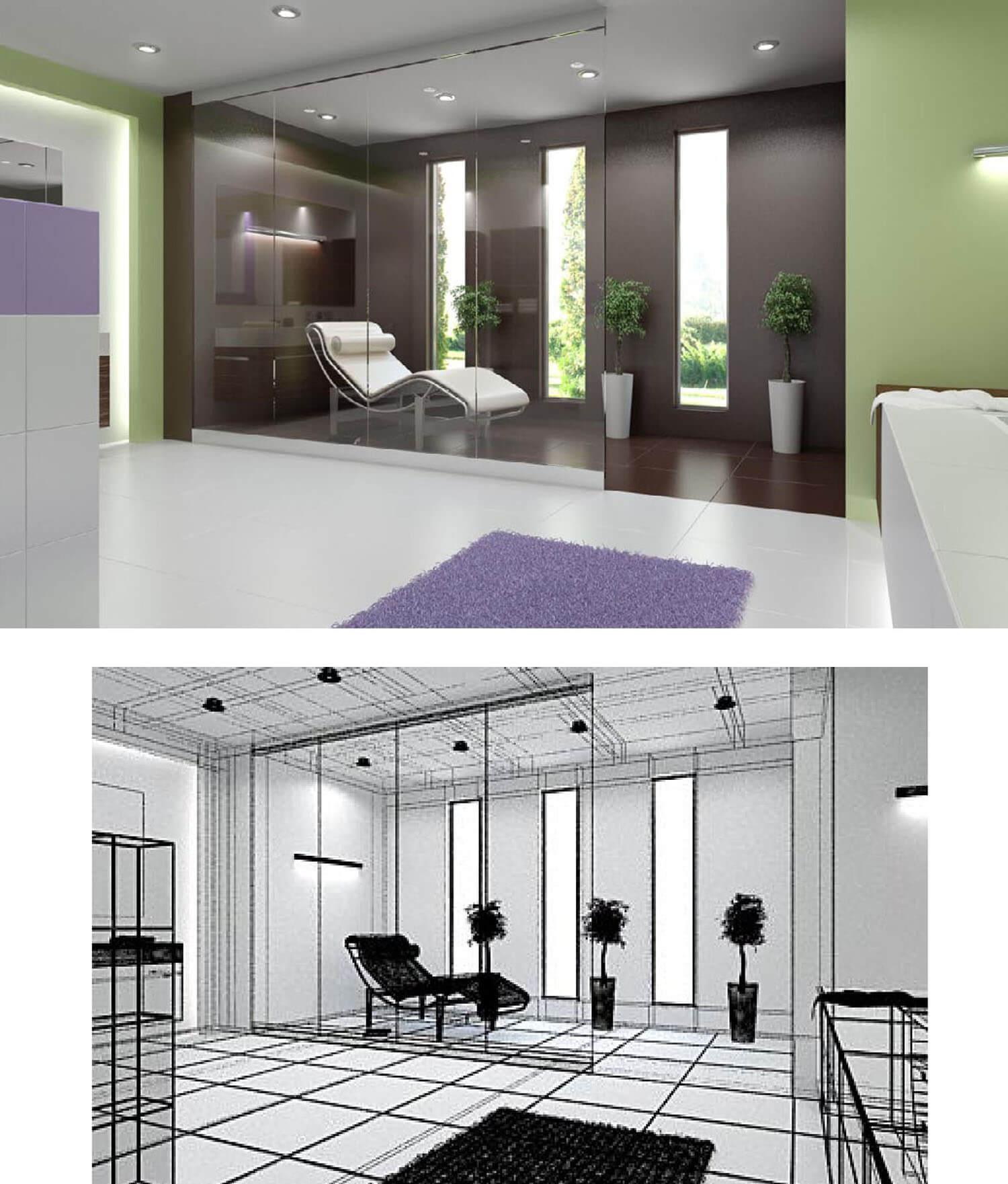 Phòng tắm được trang trí nội thất khéo léo với cây