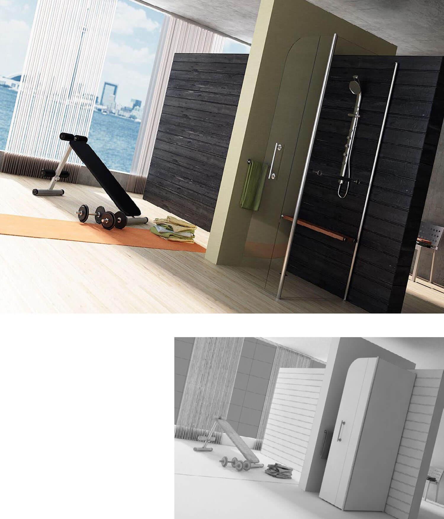 Nội thất phòng tắm sử dụng vách kính lớn đưa tầm nhìn ra xa