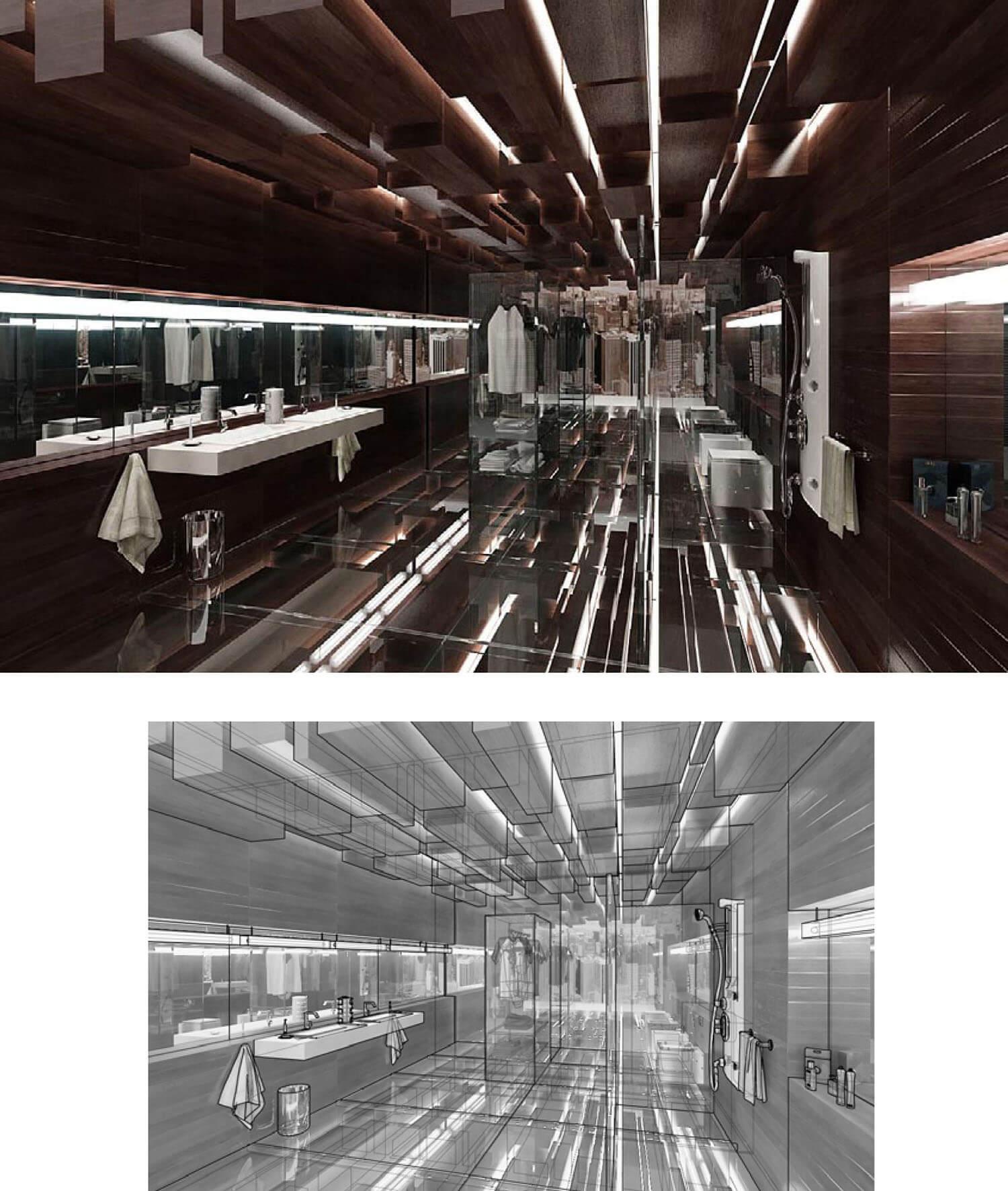 Trần phòng tắm được trang trí bằng trần gỗ