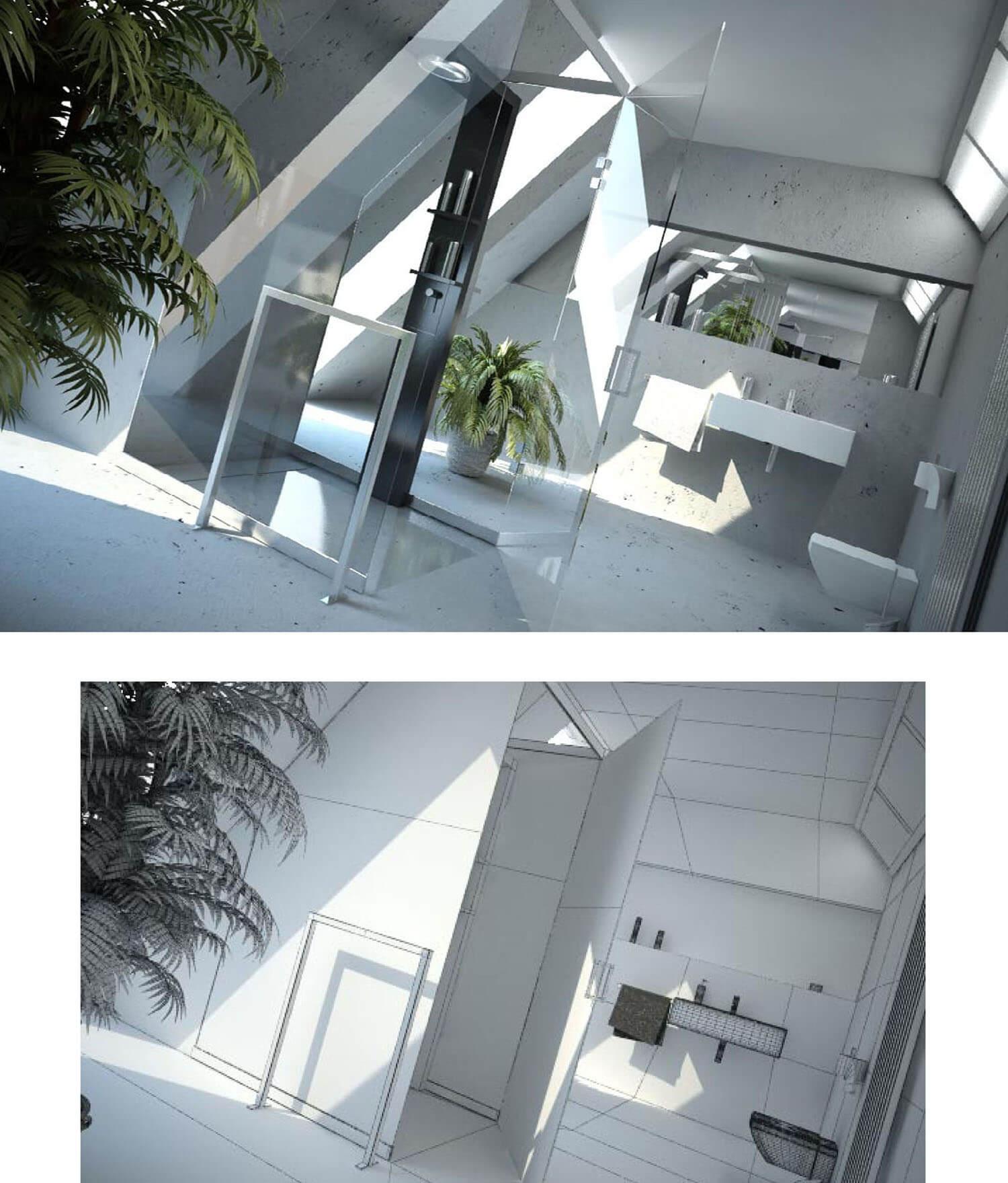 Thiết kế phòng tắm đẹp với ánh sáng thiên nhiên cây xanh và vách kính