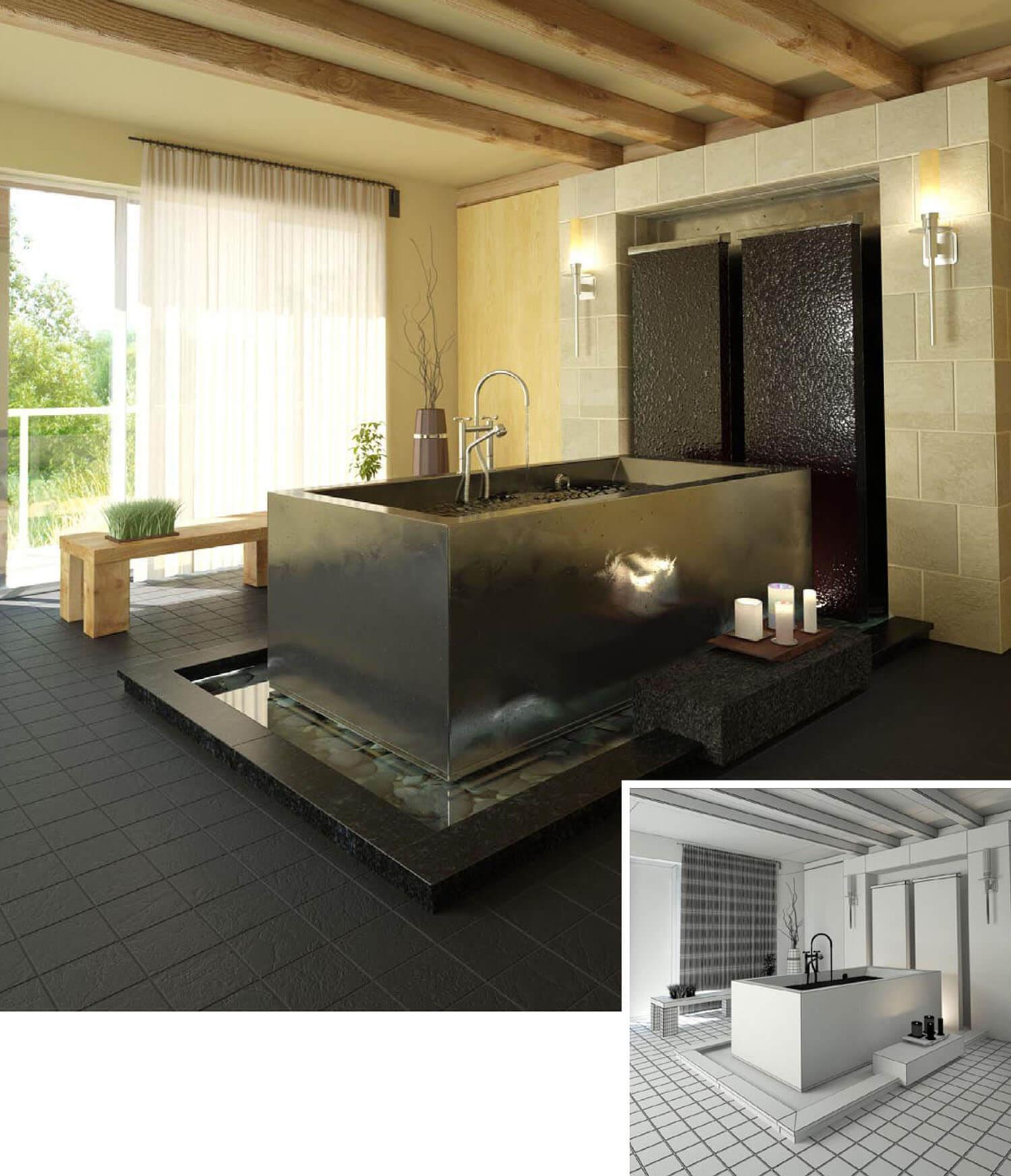 Mẫu phòng tắm với trần gỗ, ốp đá tường