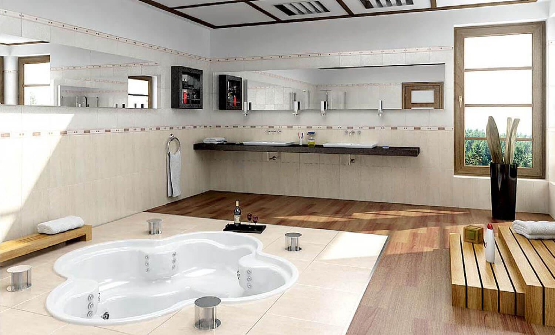Thiết kế phòng tắm với bồn tắm được đặt chìm dưới lớp sàn gỗ