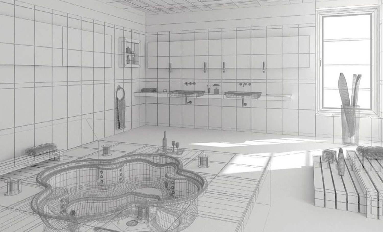 Bản vẽ phối cảnh 3D Thiết kế phòng tắm