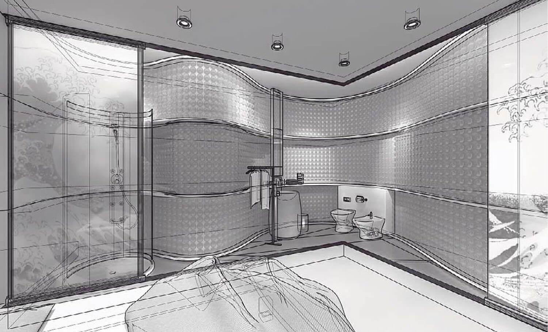 Bản vẽ 3D Phòng tắm uốn lượn