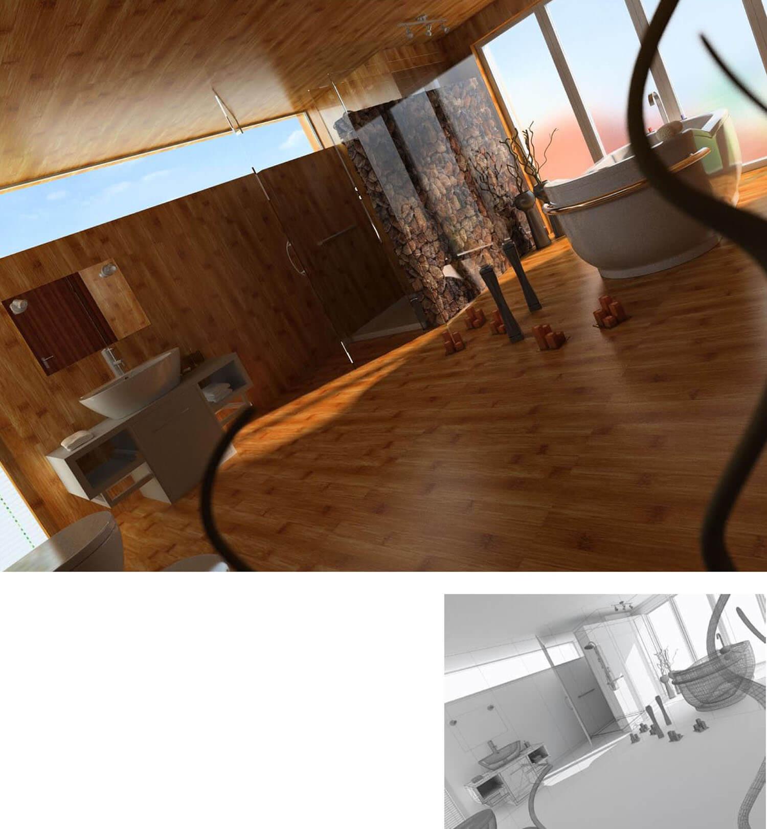 Phòng tắm được thiết kế với trần và sàn gỗ đi cùng tường vách kính