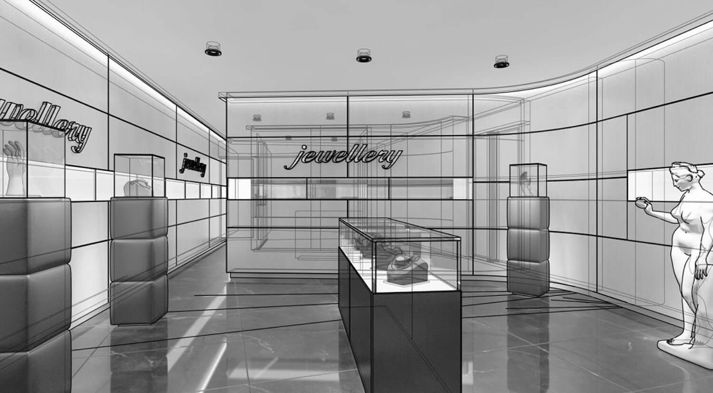 bản vẽ phối cảnh 3D Thiết kế cửa hàng trang sức sử dụng nội thất gỗ ốp tường