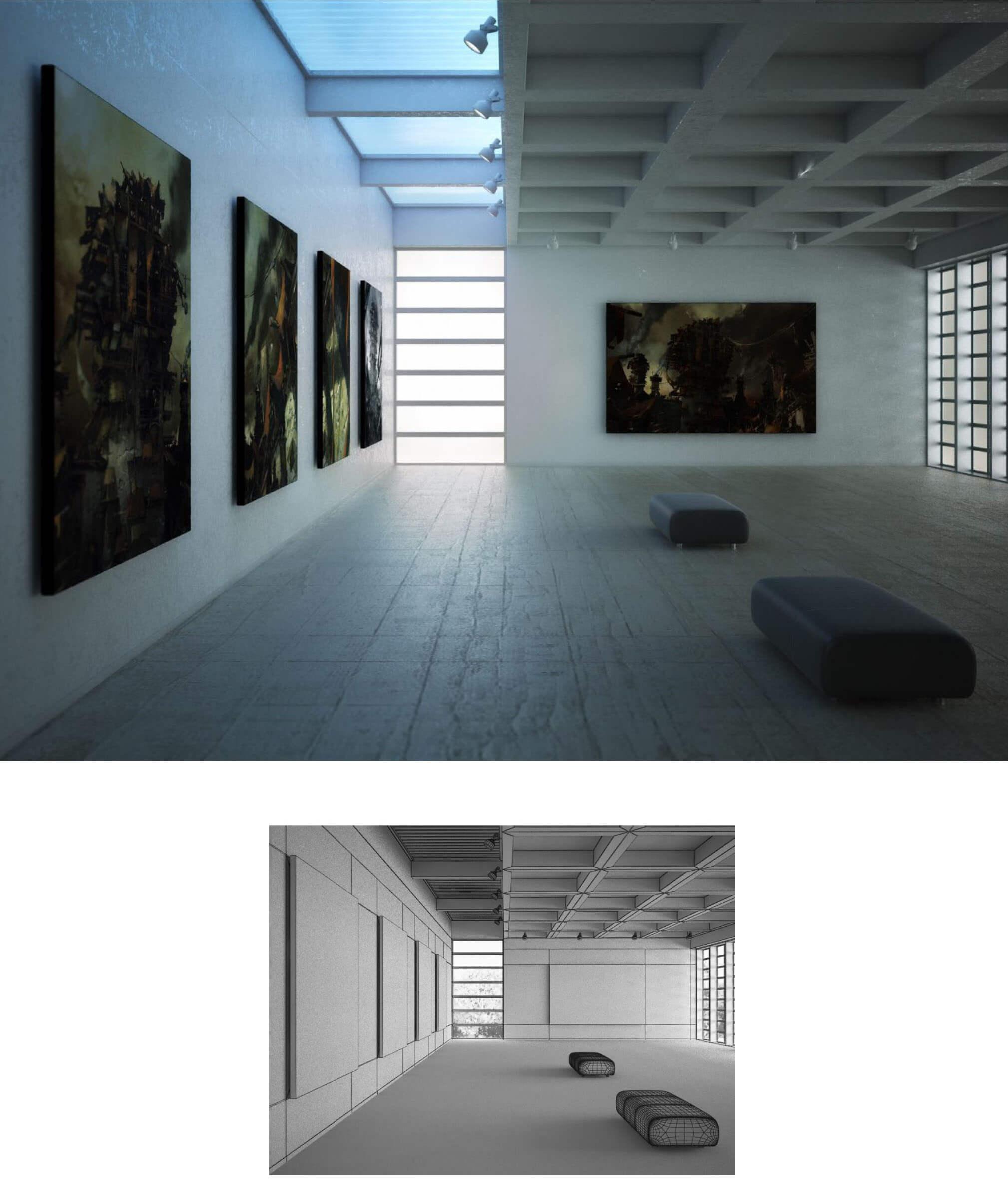 Showroom phòng tranh với thiết kế sử dụng ánh sáng hắt rất mạnh