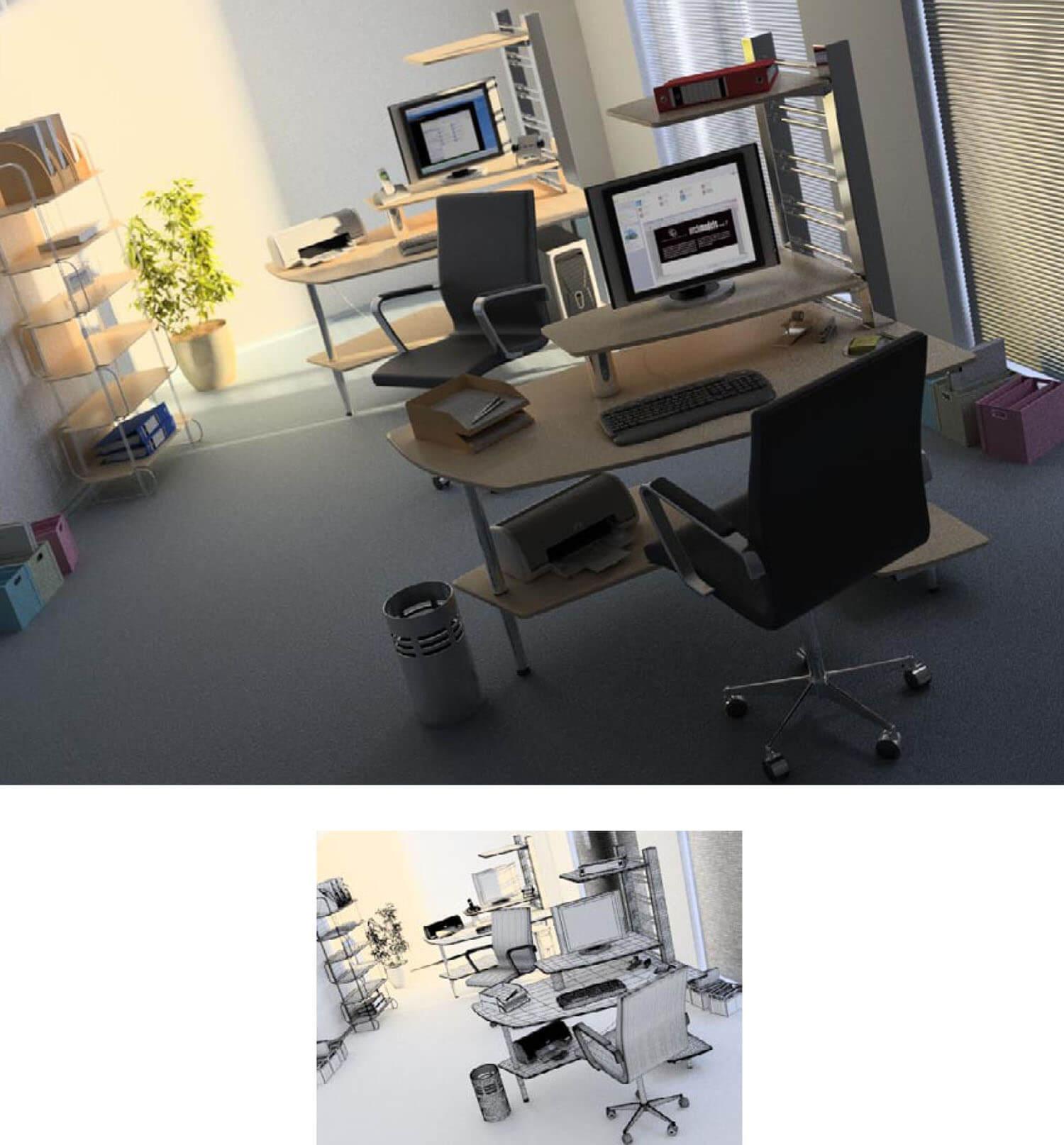 Thiết kế văn phòng làm việc sử dụng vách kính lớn và rèm đem lại sự thông thoáng tối đa khi cần