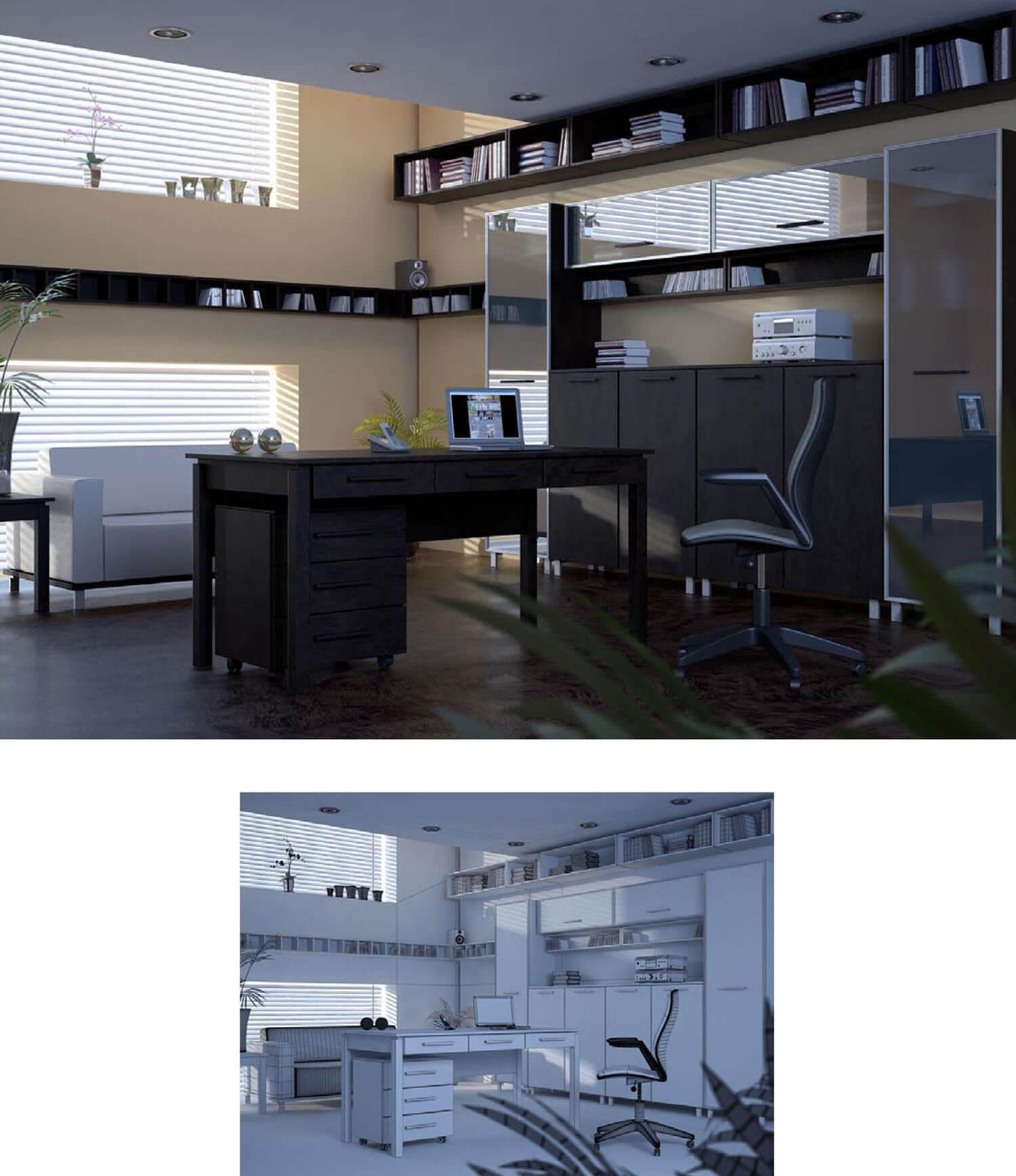 Thiết kế văn phòng làm việc tại nhà với cửa sổ lớn cùng hộc tủ gỗ ăn khớp nhau đem lại không gian làm việc khoa học