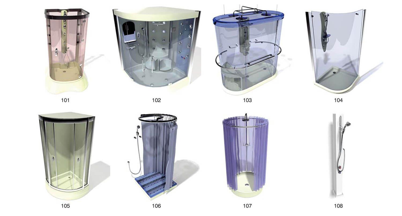 Những mẫu cabin tắm đứng hiện đại sử dụng kính uốn dạng hộp
