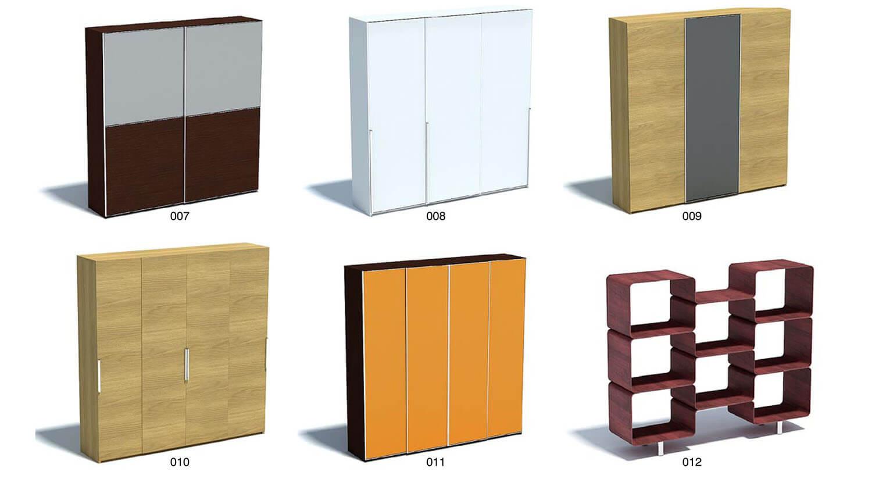 Các tủ quần áo hình hộp chữ nhật với nhiều cánh đóng mở